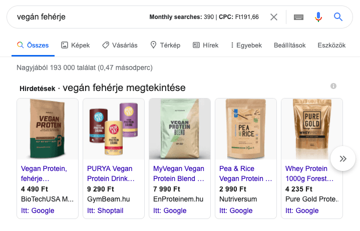 featured snippet példa
