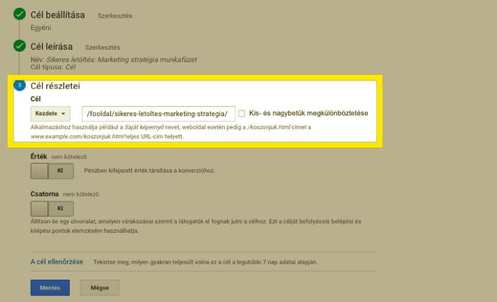 Google Analytocs cél URL