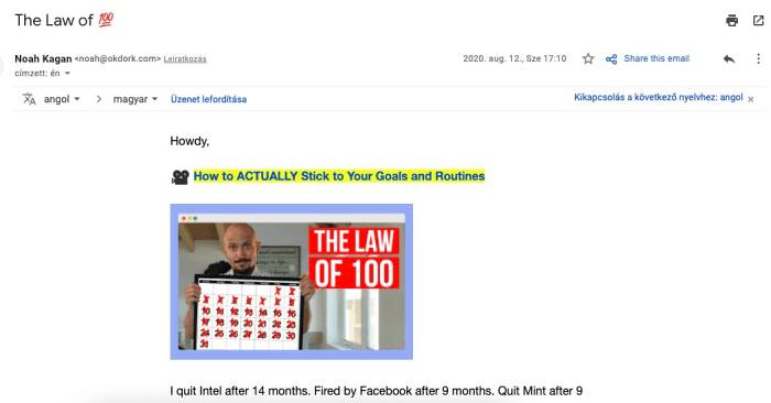 email marketing példa