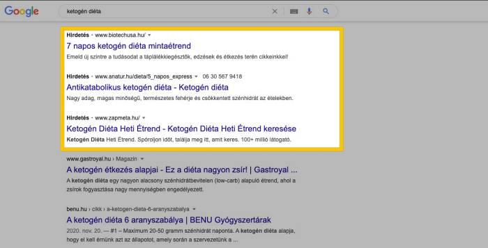 google ppc hirdetés példa